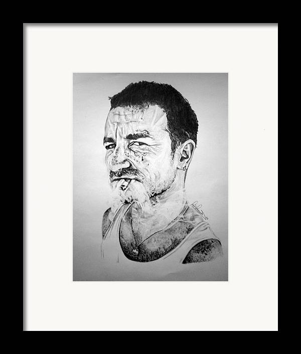 Celeb Portraits Framed Print featuring the drawing Bono by Sean Leonard