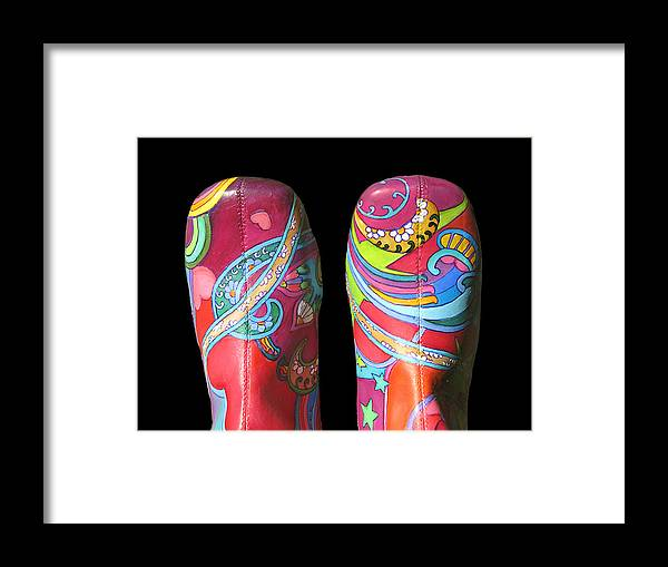 Boogie Shoes Framed Print featuring the painting Boogie Shoes 2 by Mary Johnson