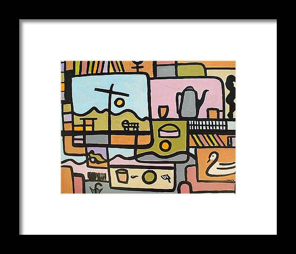 Abstract Framed Print featuring the painting Book Case by Michael Keogh