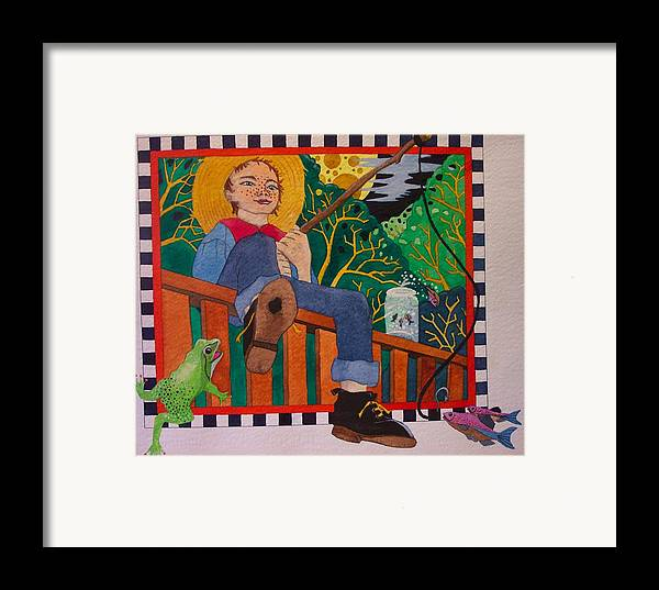 Children Framed Print featuring the painting book illustration - Tom Sawyer by Victoria Heryet