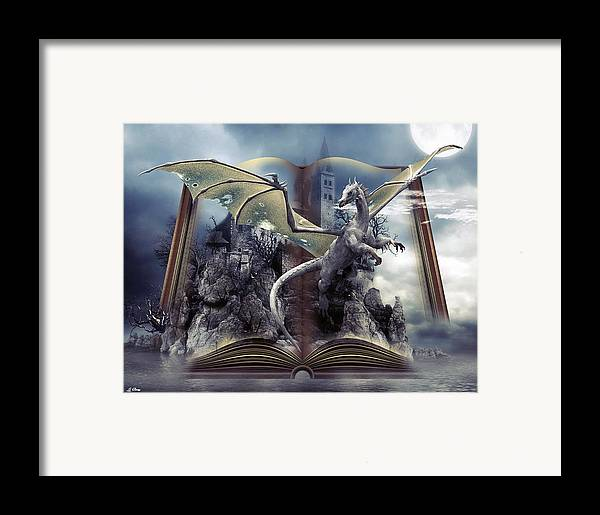 Dragons Framed Print featuring the mixed media Book Of Fantasies by G Berry