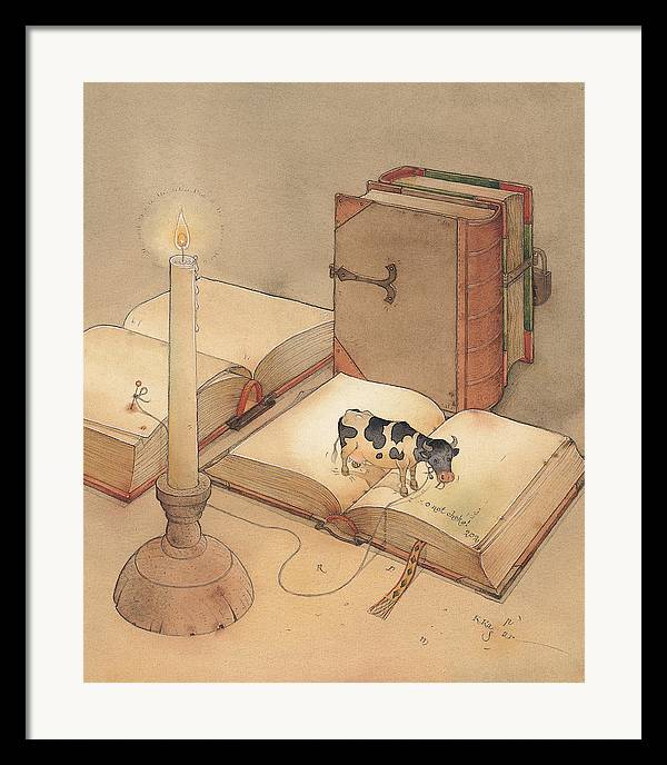 Science Books Cow Candle Reading Framed Print featuring the painting Bookish Cow by Kestutis Kasparavicius