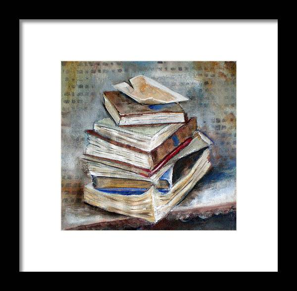 Boeke Books Framed Print featuring the painting Books Gerdasmitart by Gerda Smit