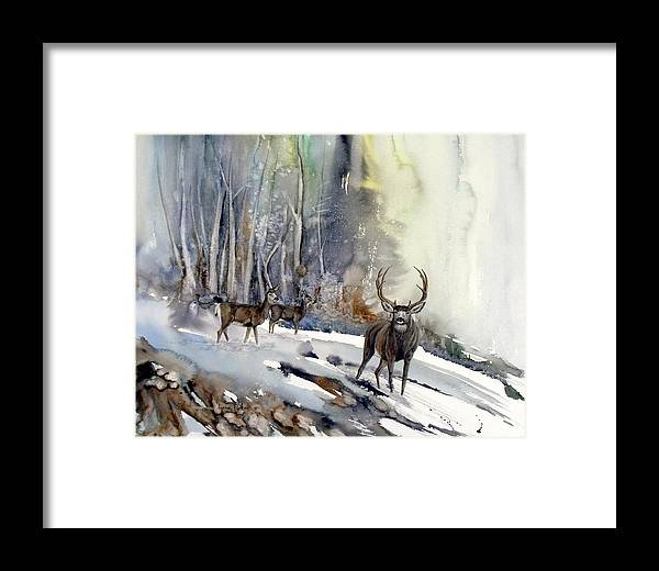 Mule Deer Framed Print featuring the painting Boone And Crockett by Lynne Parker