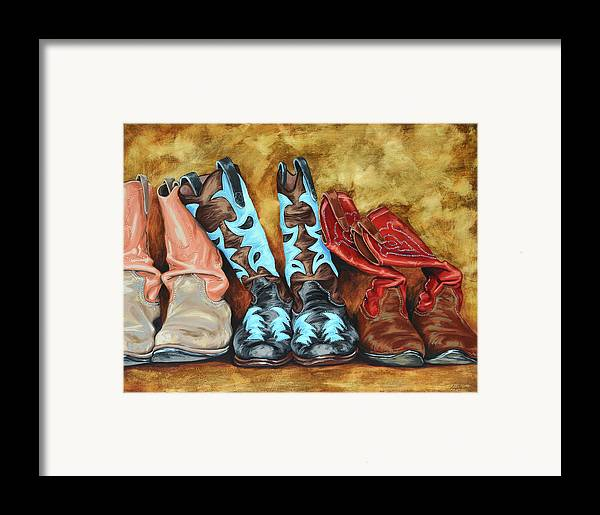 Western Framed Print featuring the painting Boots by Lesley Alexander
