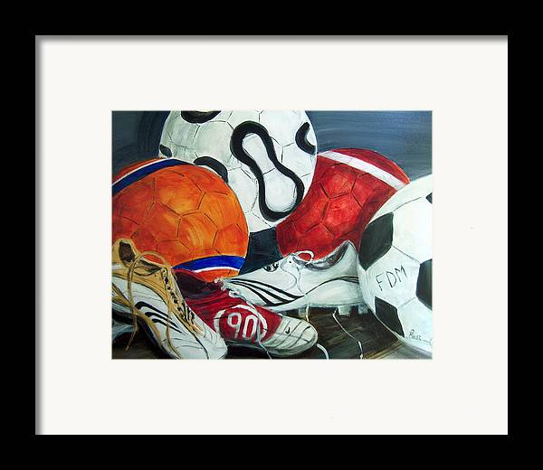 Soccer Framed Print featuring the painting Boots N Balls by Pete Maier