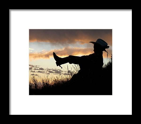 Cowboy Framed Print featuring the photograph Boots On by Carla Froshaug