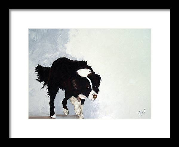Border Collie Framed Print featuring the painting Border Collie by Dick Larsen