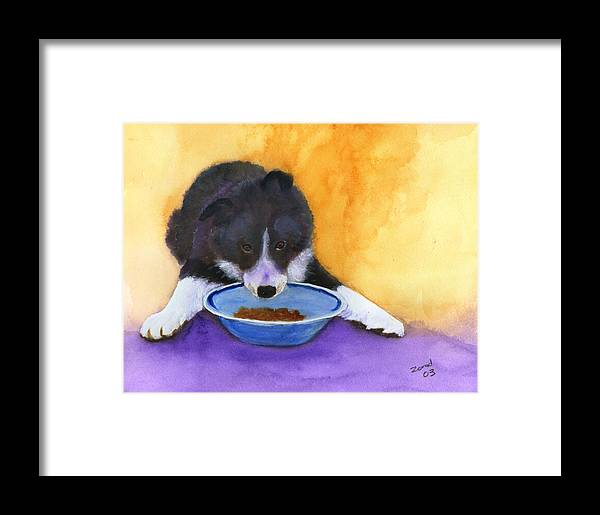 Dog Framed Print featuring the painting Border Collie Puppy by Mary Jo Zorad