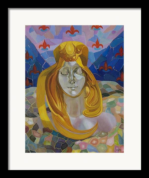 Figurative Framed Print featuring the painting Born-after Mucha by Antoaneta Melnikova- Hillman