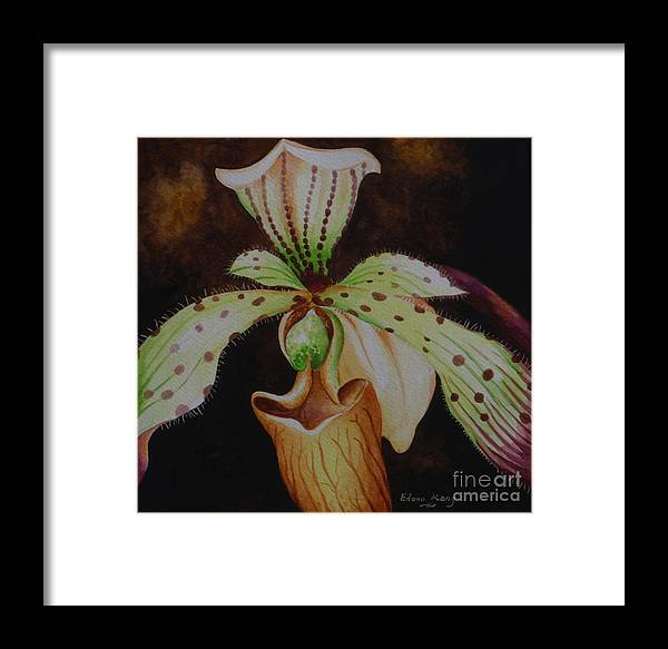 Orchid Framed Print featuring the painting Borneo Orchid P Lebaudyanum by Edoen Kang