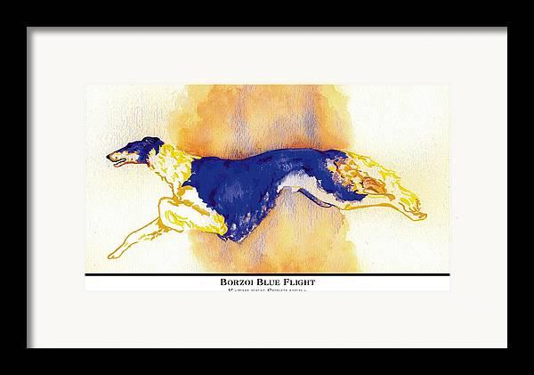 Borzoi Framed Print featuring the digital art Borzoi Blue Flight by Kathleen Sepulveda