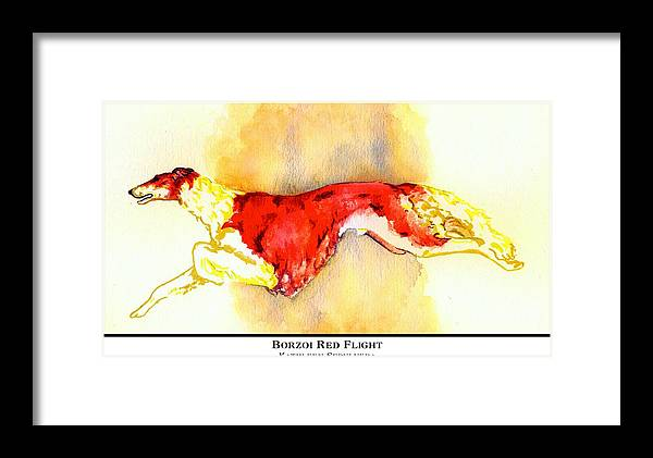 Borzoi Framed Print featuring the digital art Borzoi Red Flight by Kathleen Sepulveda