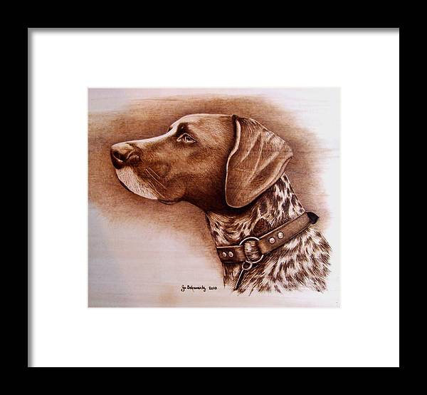 Pyrography Framed Print featuring the pyrography Boscoe by Jo Schwartz