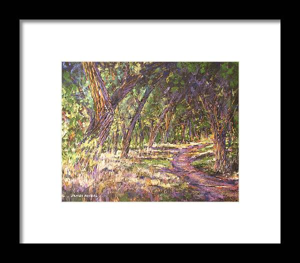 Landscape. Pastel Framed Print featuring the painting Bosque Light by James Roybal