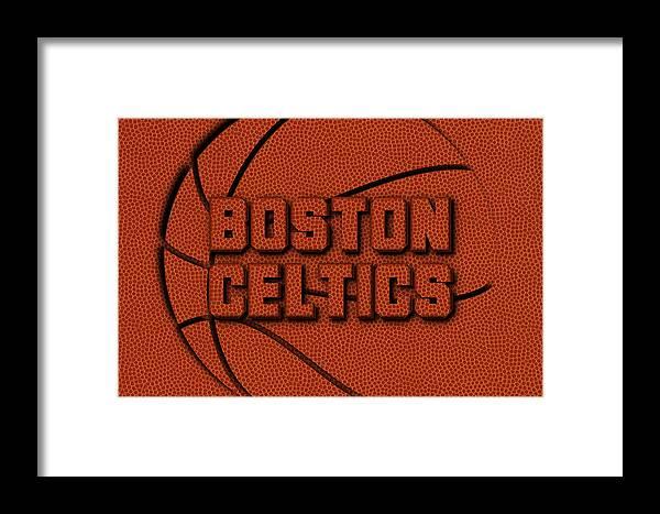 Celtics Framed Print featuring the photograph Boston Celtics Leather Art by Joe Hamilton