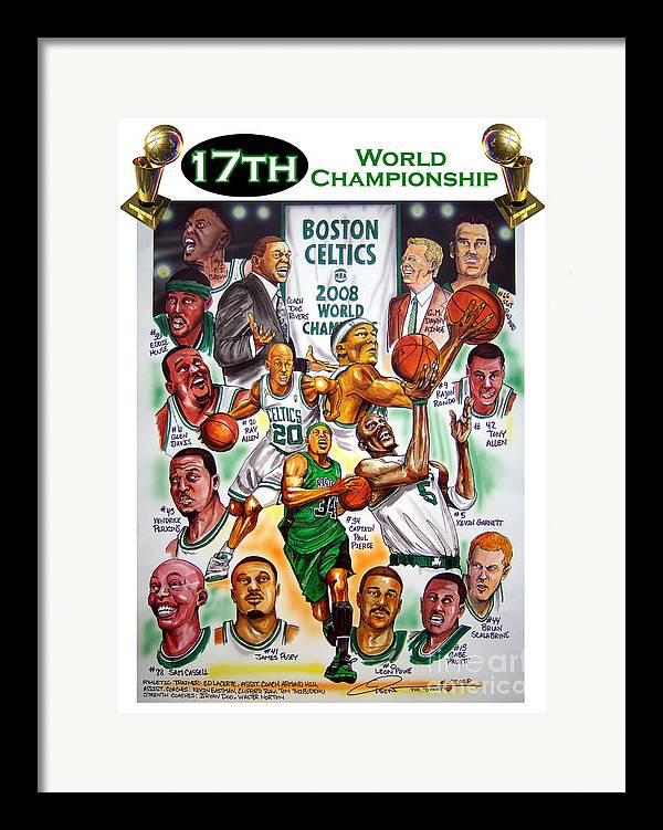 Nba Framed Print featuring the painting Boston Celtics World Championship Newspaper Poster by Dave Olsen