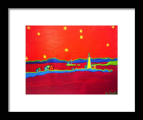 Seascape Framed Print featuring the painting Boston Harbor Lights by Debra Bretton Robinson