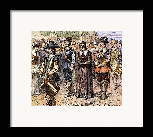 1660 Framed Print featuring the photograph Boston: Mary Dyer, 1660 by Granger