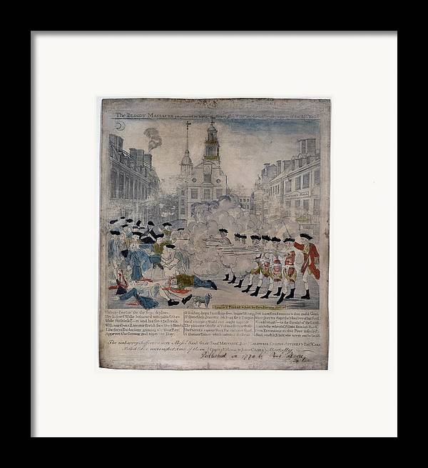 Historical Framed Print featuring the photograph Boston Massacre. British Troops Shoot by Everett