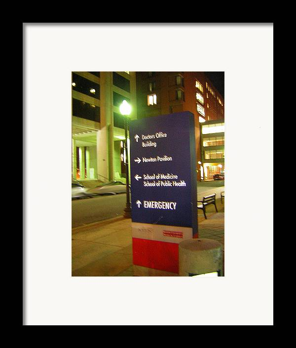 Boston Medical Center. Hospital Framed Print featuring the photograph Boston Medical At Night by Heather Weikel