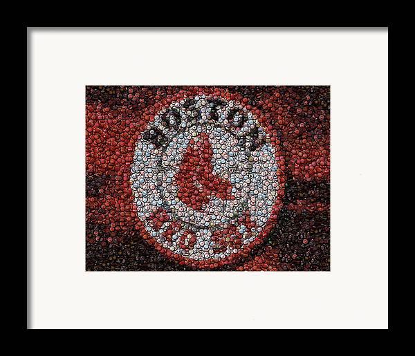 Boston Framed Print featuring the digital art Boston Red Sox Bottle Cap Mosaic by Paul Van Scott