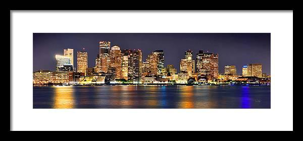 Boston Skyline At Night Framed Print featuring the photograph Boston Skyline at NIGHT Panorama by Jon Holiday
