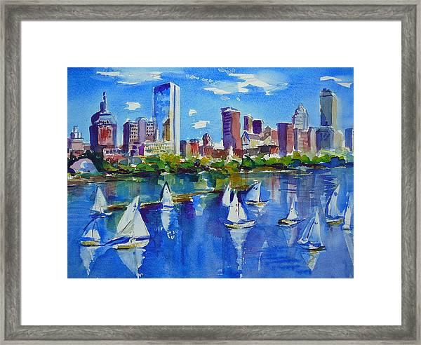 Boston Skyline Framed Print By Diane Bell
