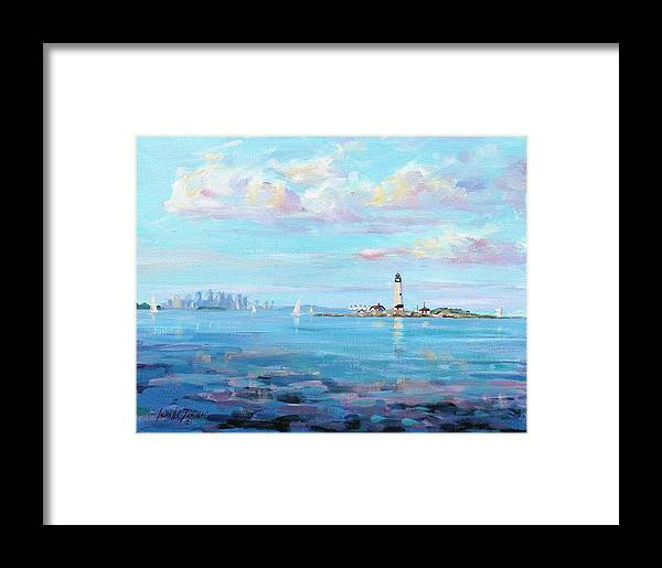 Seascape Framed Print featuring the painting Boston Skyline by Laura Lee Zanghetti