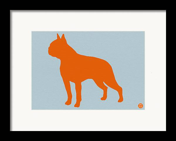 Boston Terrier Framed Print featuring the digital art Boston Terrier Orange by Naxart Studio