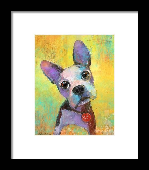 Boston Terrier Framed Print featuring the painting Boston Terrier Puppy Dog Painting Print by Svetlana Novikova