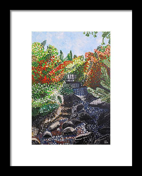 Landscape Framed Print featuring the painting Botanic Garden Merano 1 by Valerie Ornstein