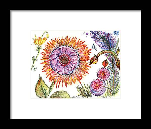 Flowers Nature Botany Drawing Julie Richman Flora Pencil Framed Print featuring the painting Botanical Flower-50 by Julie Richman