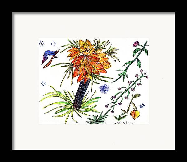 Drawing Nature Botany Flowers Abstract Art Framed Print featuring the painting Botanical Flower With Insect. by Julie Richman