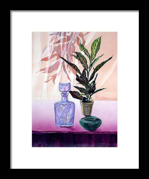Flowers Framed Print featuring the painting Bottle Edge by Milada Kessling