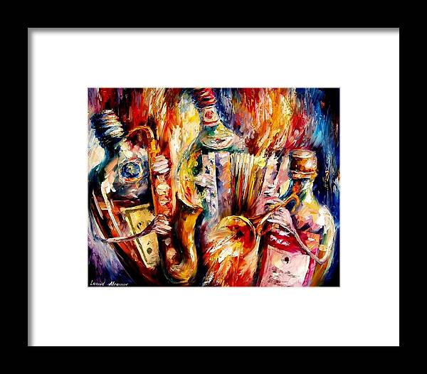 Bottle Jazz Framed Print featuring the painting Bottle Jazz by Leonid Afremov