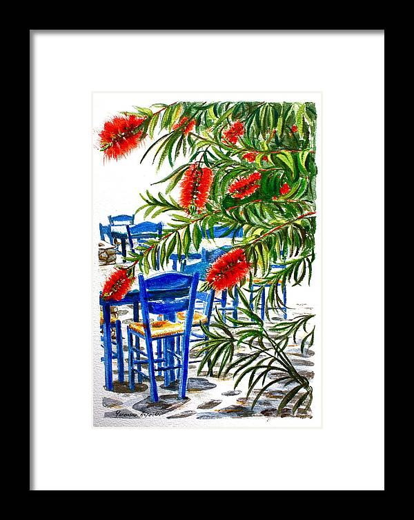 Red Framed Print featuring the painting Bottlebrush And Blue by Yvonne Ayoub