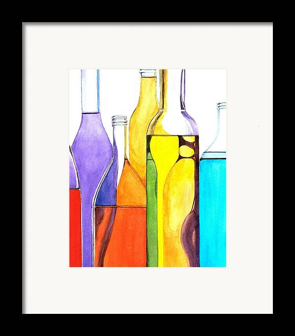 Bottle Framed Print featuring the painting Bottled Rainbow 1 by Jun Jamosmos