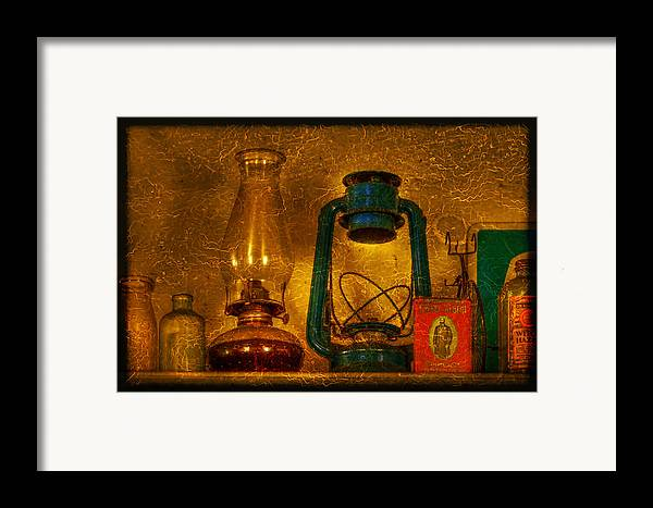 Bottle Framed Print featuring the photograph Bottles And Lamps by Evelina Kremsdorf