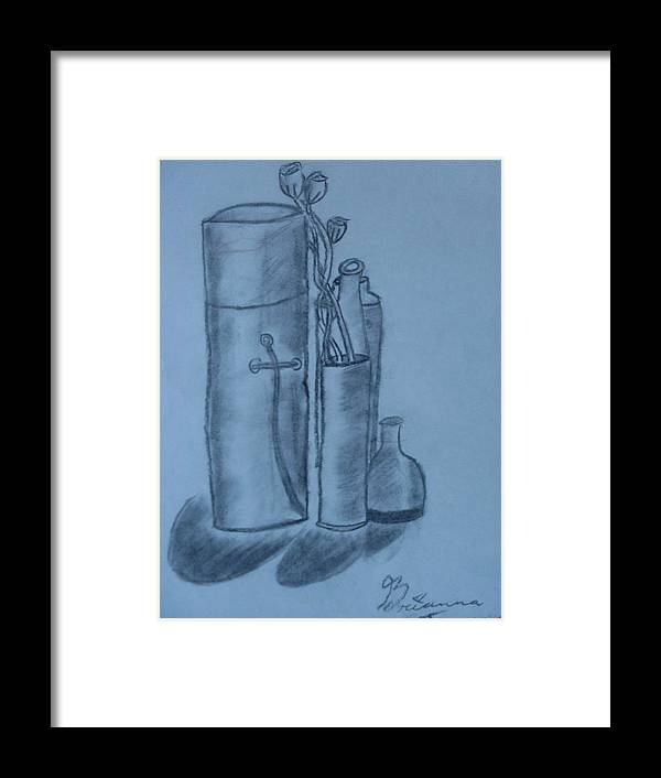 Charcoal Bottles Still Life Framed Print featuring the drawing Bottles And Shadows by Brianna Emily Thompson