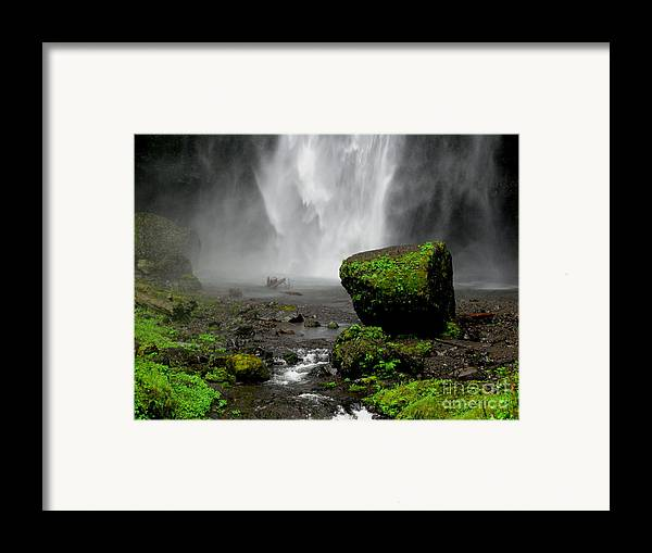 Waterfall Framed Print featuring the photograph Bottom Of Wakeena Falls by PJ Cloud