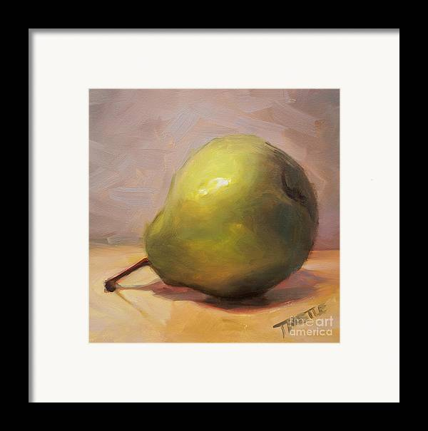 Best Selling Art Prints Framed Print featuring the painting Bottoms Up Green Pear Print by Patti Trostle