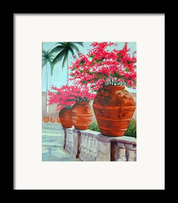 Landscape Framed Print featuring the painting Bougainvillea Pots by SueEllen Cowan