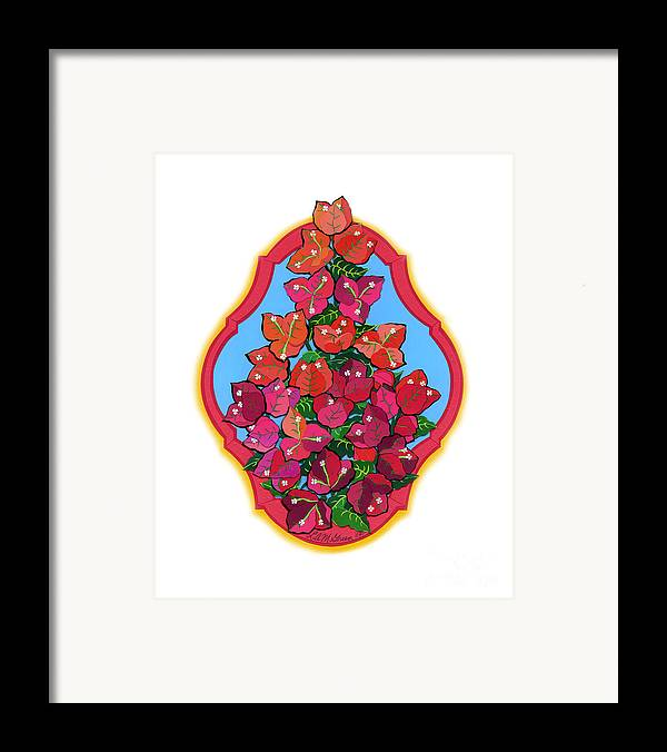Nature Framed Print featuring the drawing Bougainvillea Too by Lucyna A M Green