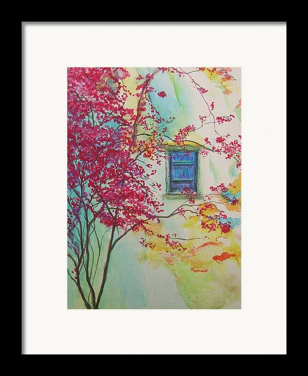 Bouganvilla Framed Print featuring the painting Bouganvilla And Blue Shutter by Lizzy Forrester