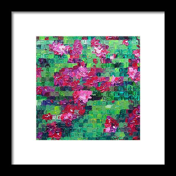 Floral Framed Print featuring the painting Bouganvillea - Tiled by Wanda Pepin