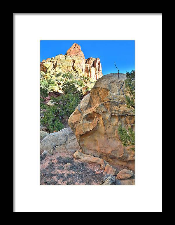 Grand Staircase Escalante National Monument Framed Print featuring the photograph Boulder Castle by Ray Mathis