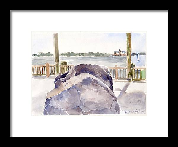 Paintings Framed Print featuring the painting Boulder by Linda Berkowitz