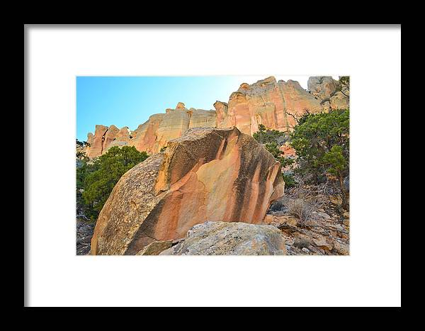 Grand Staircase Escalante National Monument Framed Print featuring the photograph Boulder-notom Varnish by Ray Mathis