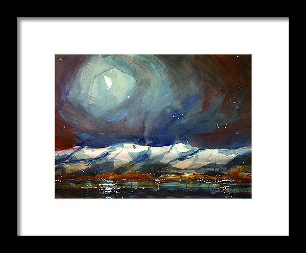 Colorado Winter Rocky Mountains Snow Boulder Framed Print featuring the painting Boulder Winter Night by Ugljesa Janjic